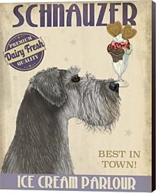 Schnauzer, Grey, Ice Cream By Fab Funky Canvas Art