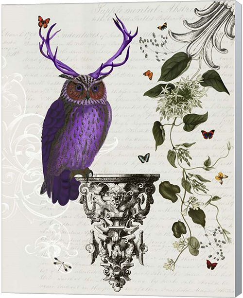 Metaverse Purple Owl With Antlers By Fab Funky Canvas Art