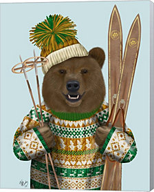 Bear in Christmas Sweater by Fab Funky Canvas Art