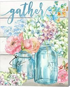 Colorful Flowers In Mason Jar Gather By Tre Sorelle Studios Canvas Art