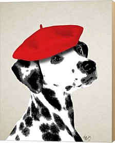Dalmatian With Red Beret By Fab Funky Canvas Art