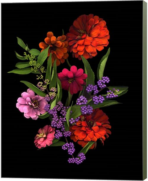 Metaverse Zinnia And Berries By Susan Barmon Canvas Art