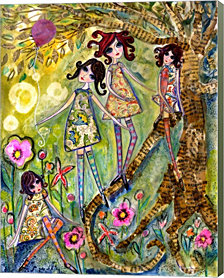 Big Eyed Girls One Fell Down by Wyanne Canvas Art