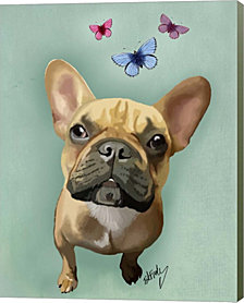 Brown French Bulldog And Butterflies By Fab Funky Canvas Art