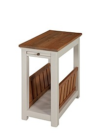 Savannah Chairside Magazine End Table with Pull-out Shelf, Ivory with Natural Wood Top