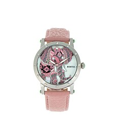 Bertha Quartz Betsy Collection Silver And Pink Leather Watch 38Mm