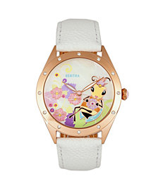 Bertha Quartz Ericka Collection White Leather Watch 38Mm