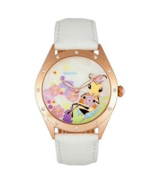 Quartz Ericka Collection White Leather Watch 38Mm