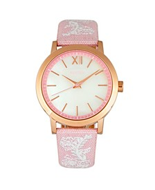 Quartz Penelope Collection Light Pink And White Leather Watch 36Mm