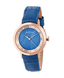 Quartz Cecelia Collection Blueleather Watch 34Mm