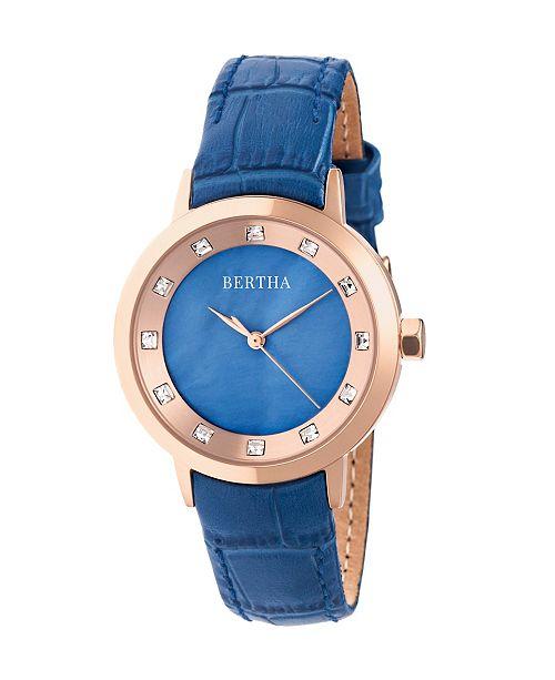 Bertha Quartz Cecelia Collection Blueleather Watch 34Mm