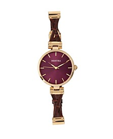 Quartz Amanda Collection Gold And Burgandy Leather Watch 36Mm