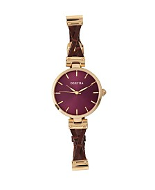 Bertha Quartz Amanda Collection Gold And Burgandy Leather Watch 36Mm