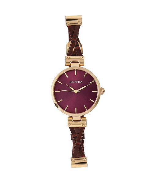 Bertha Quartz Amanda Collection Gold And Burgandy Leather Watch 36Mm