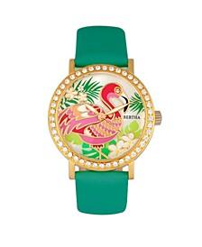 Quartz Luna Collection Turquoise Leather Watch 35Mm