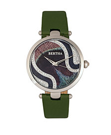 Bertha Quartz Trisha Collection Olive Leather Watch 39Mm