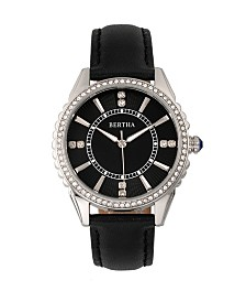 Bertha Quartz Clara Collection Black Leather Watch 39Mm