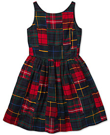 Polo Ralph Lauren Big Girls Tartan Patchwork Cotton Dress