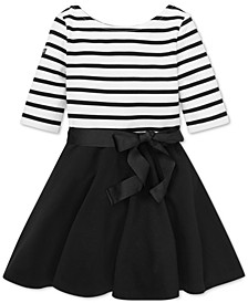 Little Girls Striped Jersey-Ponté Dress
