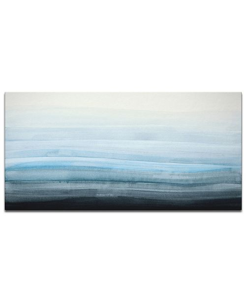 """Ready2HangArt 'Ocean Depths' Abstract Canvas Wall Art, 18x36"""""""