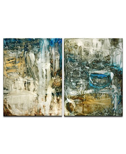 "Ready2HangArt 'Ravine Falls I/II' 2 Piece Abstract Canvas Wall Art Set, 30x20"""