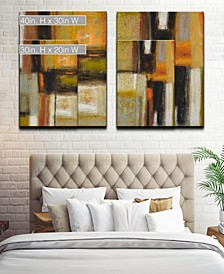'Down to Earth I/II' 2 Piece Abstract Canvas Wall Art Set Collection