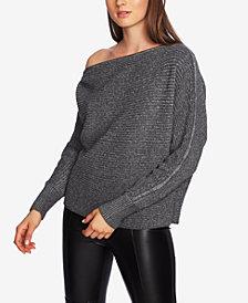 1.STATE One-Shoulder Zipper-Trim Sweater