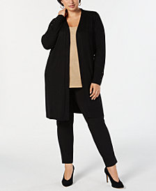 78ff8c67a29cd JM Collection Plus Size Lace-Up-Cuff Duster Cardigan