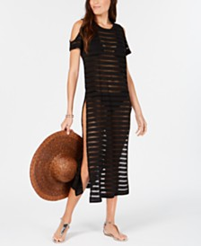 Calvin Klein Crochet Striped Cold-Shoulder Cover-Up