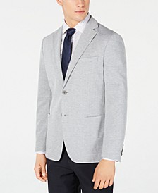 Men's Slim-Fit Stretch Gray Stripe Knit Sport Coat