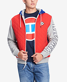 Tommy Hilfiger Denim Men's Isaac Quilted Colorblocked Full-Zip Logo Hoodie, Created for Macy's