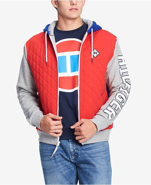 7419b564 ... Tommy Hilfiger Men's Isaac Quilted Colorblocked Full-Zip Logo Hoodie,  Created for Macy's ...