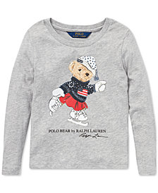 Polo Ralph Lauren Little Girls Ice Skating Bear Long-Sleeve Cotton T-Shirt