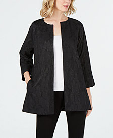 Eileen Fisher Cotton Metallic Open-Front Jacket, Regular & Petite