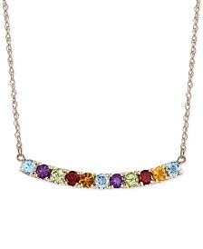 "Multi-Gemstone (1-3/4 ct. t.w.) & Diamond (1/10 ct. t.w.) Curved Bar 17"" Pendant Necklace in 14k Gold"
