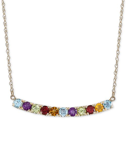 "Macy's Multi-Gemstone (1-3/4 ct. t.w.) & Diamond (1/10 ct. t.w.) Curved Bar 17"" Pendant Necklace in 14k Gold"