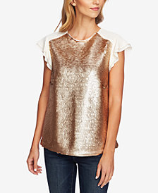 CeCe Sequin Flutter-Sleeve Blouse