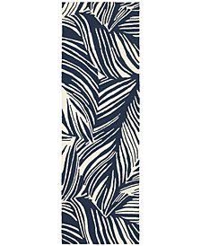 """Tommy Bahama Home  Atrium Indoor/Outdoor 51105 Blue/Ivory 2'6"""" x 8' Runner Area Rug"""
