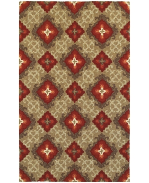 Closeout! Tommy Bahama Home Atrium Indoor/Outdoor 51109 Brown/Red 5' x 8' Area Rug