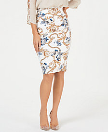 Thalia Sodi Chain-Print Scuba Skirt, Created for Macy's