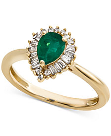 Emerald (5/8 ct. t.w.) & Diamond (1/4 ct. t.w.) Ring in 14k Gold