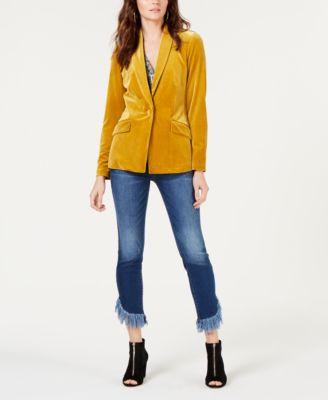 I.N.C. Fringe-Hem Button-Front Straight-Leg Jeans, Created for Macy's