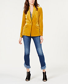 I.N.C. Velvet Blazer & Fringe-Trim Jeans, Created for Macy's