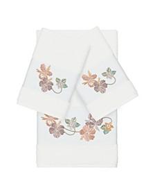 Caroline 3-Pc. Embroidered Turkish Cotton Bath and Hand Towel Set