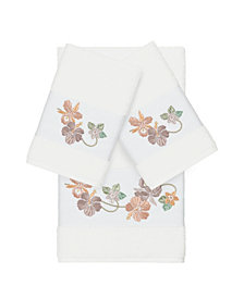 Linum Home Caroline 3-Pc. Embroidered Turkish Cotton Bath and Hand Towel Set