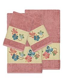 Caroline 4-Pc. Embroidered Turkish Cotton Bath and Hand Towel Set