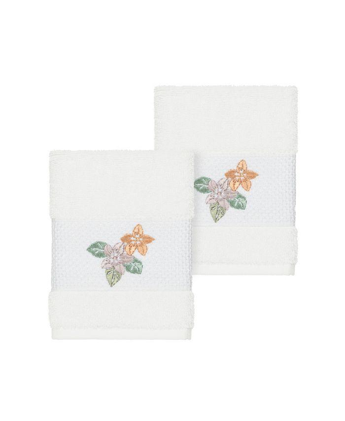 Linum Home - Caroline 2-Pc. Embroidered Turkish Cotton Washcloth Set