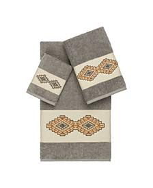 Gianna 3-Pc. Embroidered Turkish Cotton Towel Set