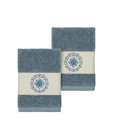 Isabelle 2-Pc. Embroidered Turkish Cotton Washcloth Set