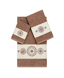 Linum Home Isabelle 3-Pc. Embroidered Turkish Cotton Towel Set